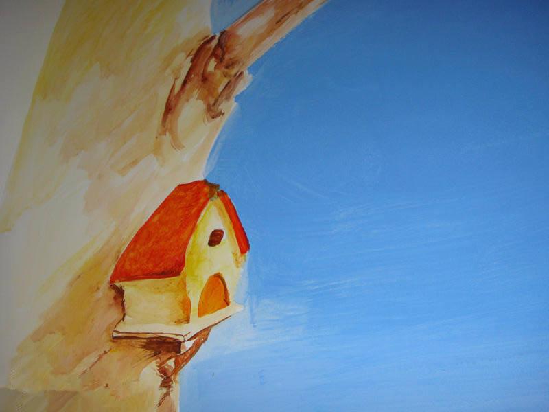 树上的小房子简笔画_树上的小房子图片欣赏