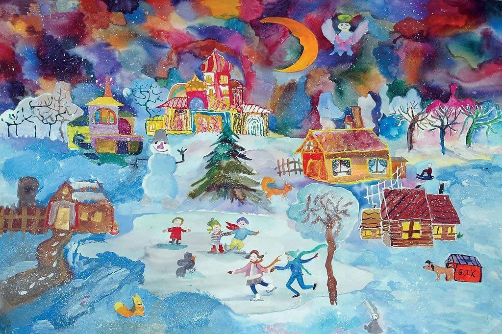 儿童画画 数字油画 一起滑雪吧儿童画画