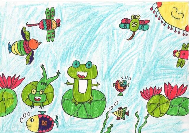 儿童画小池塘