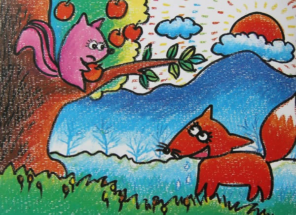 小狐狸简笔画 小狐狸图片欣赏 小狐狸儿童画画作品