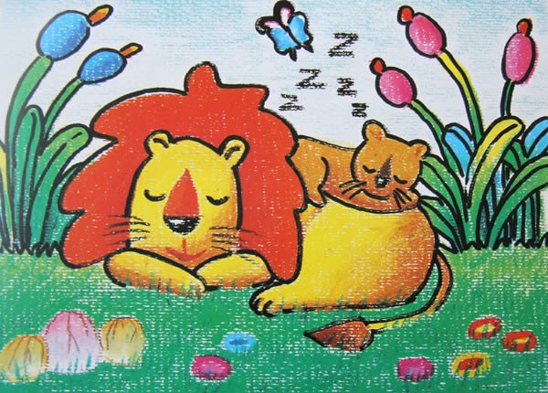 数字油画-睡着的小狮子