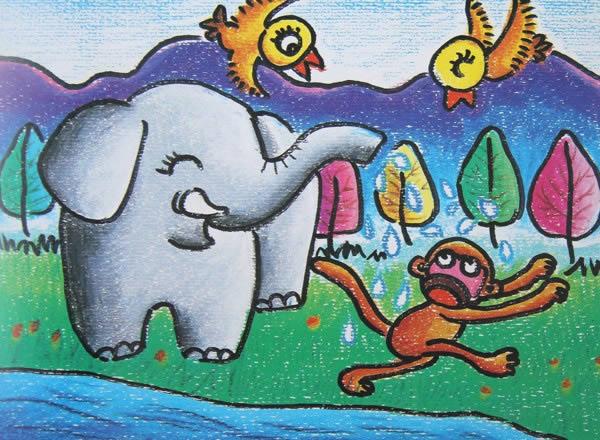 大象的鼻子简笔画 大象的鼻子图片欣赏 大象的鼻子儿童画画作品