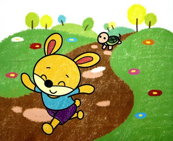 数字油画之龟兔赛跑 -龟兔赛跑简笔画 龟兔赛跑图片欣赏 龟兔赛跑儿童