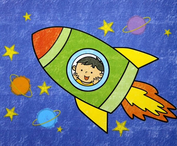 太空服简笔画 宇宙太空飞船简笔画 太空宇宙火箭简笔画