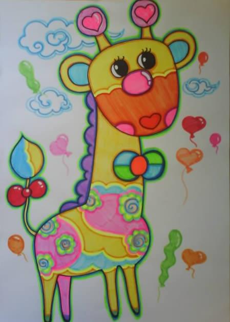 儿童画画 数字油画 美丽的长颈鹿儿童画画