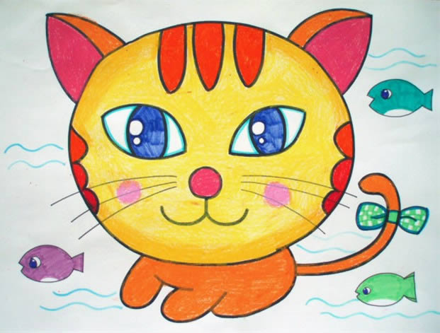 小花猫简笔画 小花猫图片欣赏 小花猫儿童画画作品