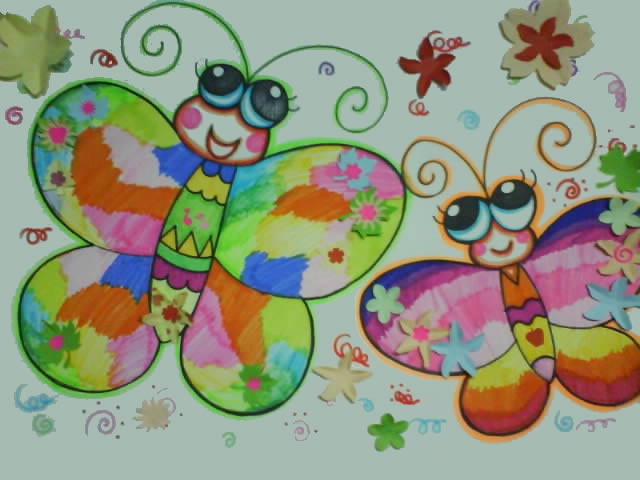 两只小蝴蝶简笔画 两只小蝴蝶图片欣赏 两只小蝴蝶儿童画画作品