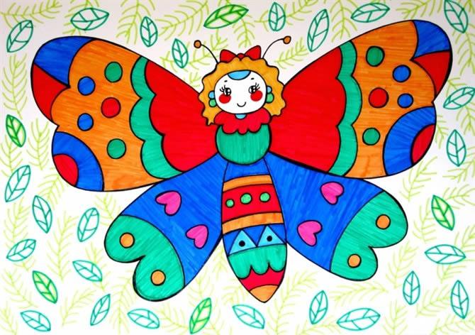 美丽的花蝴蝶简笔画 美丽的花蝴蝶图片欣赏 美丽的花蝴蝶儿童画画作品