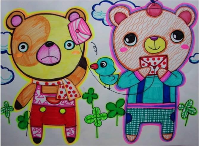 两只小熊 儿童 画画