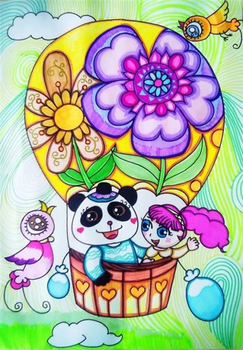 儿童画画 数字油画 美丽的热气球儿童画画