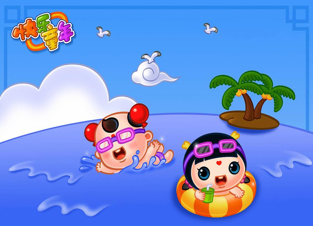 游泳简笔画 游泳图片欣赏 游泳儿童画画作品
