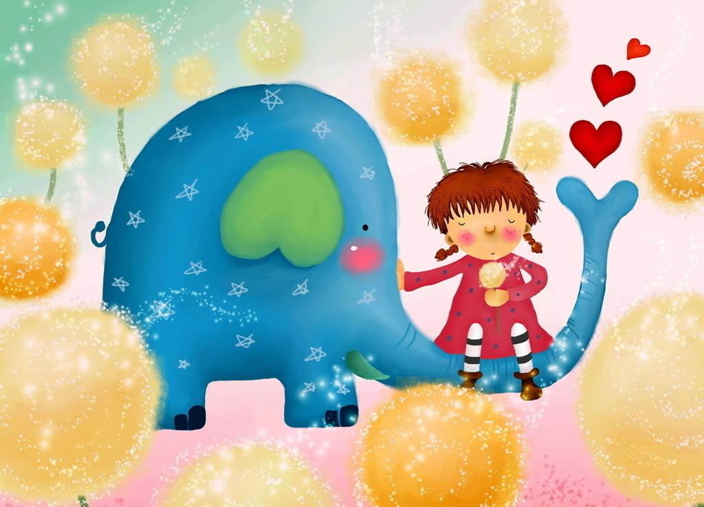 动物简笔画 好看的大象和小象简笔画图片