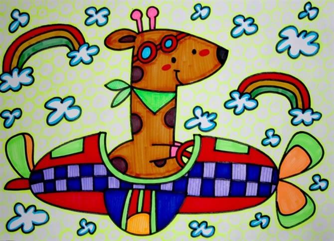 儿童画画 数字油画 长颈鹿开汽车儿童画画