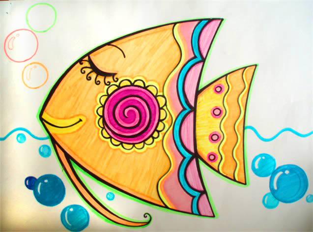 热带鱼简笔画_热带鱼图片欣赏_热带鱼儿童画画作品-有