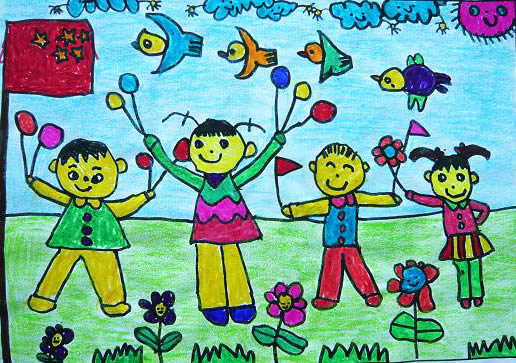 升国旗简笔画_升国旗图片欣赏_升国旗儿童画画作品-有