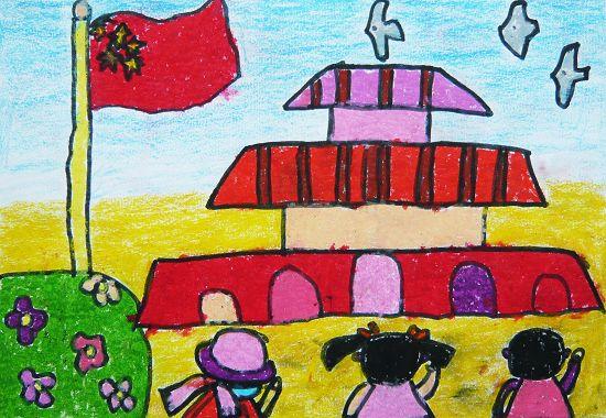 向国旗敬礼简笔画 向国旗敬礼图片欣赏 向国旗敬礼儿童画画作品