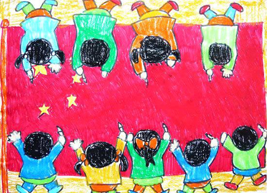 儿童 国旗/画国旗简笔画 画国旗图片欣赏画国旗儿童画画作品...