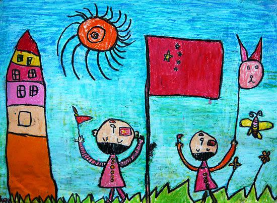 我和国旗比高高简笔画 我和国旗比高高图片欣赏 我和国旗比高高儿童