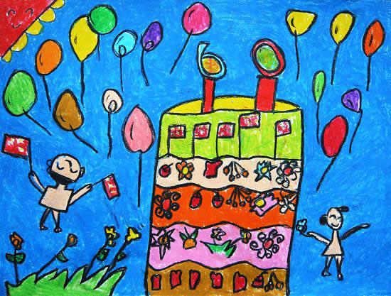 儿童画画 数字油画 祖国妈妈的生日儿童画画