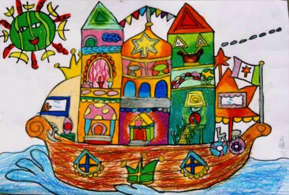 儿童画画 数字油画 轮船怎么画儿童画画