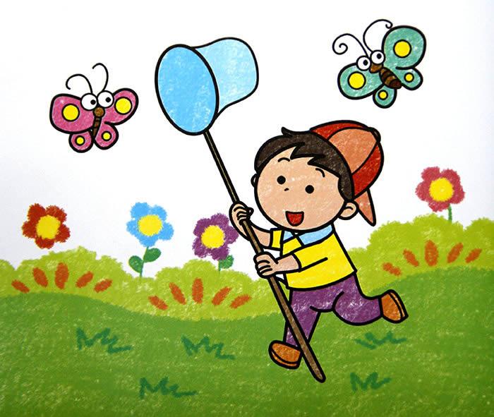 捕蝴蝶简笔画 捕蝴蝶图片欣赏 捕蝴蝶儿童画画作品