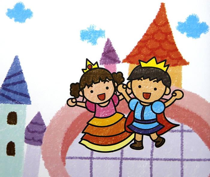 儿童画画 数字油画 王子和公主儿童画画