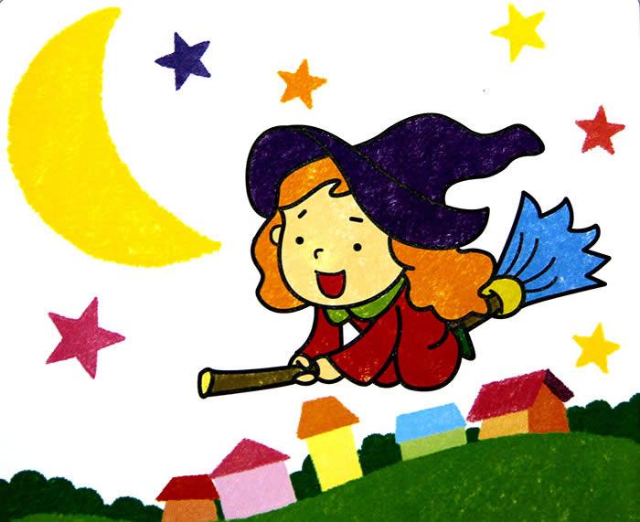 儿童画画 数字油画 可爱小女巫儿童画画