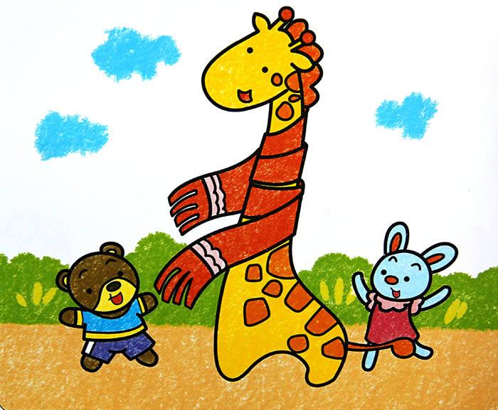 儿童画画 数字油画 长颈鹿的围巾儿童画画