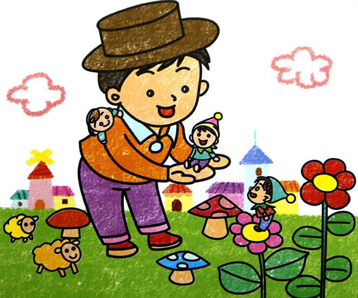 儿童画画 数字油画 可爱的小人国儿童画画