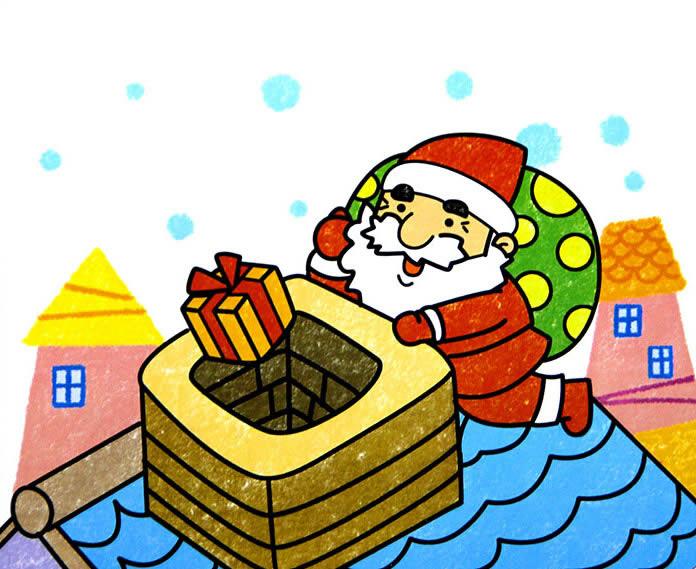 儿童画画 数字油画 圣诞老人和他的礼物儿童画画