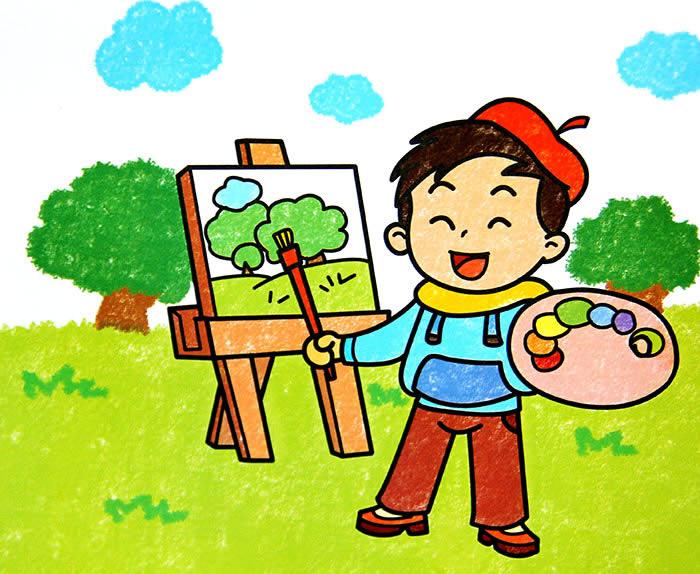 儿童画画 数字油画 小画家的风景写生儿童画画图片