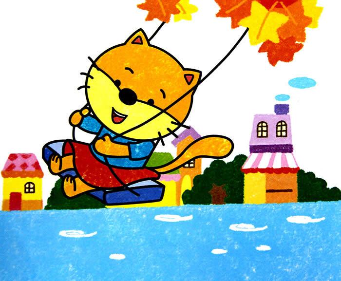 儿童画画 数字油画 小猫咪荡秋千儿童画画