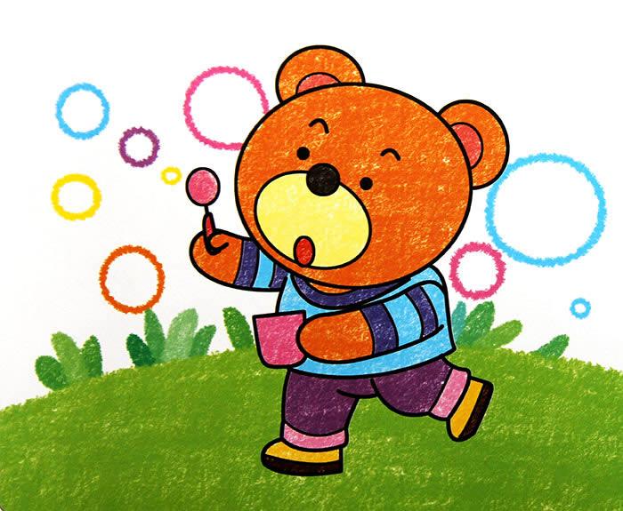 儿童画画 数字油画 吹泡泡的小熊儿童画画