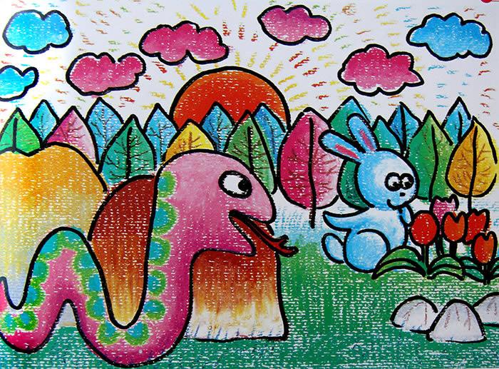 数字油画之小兔子与蛇 -小兔子与蛇简笔画 小兔子与蛇图片欣赏 小兔子