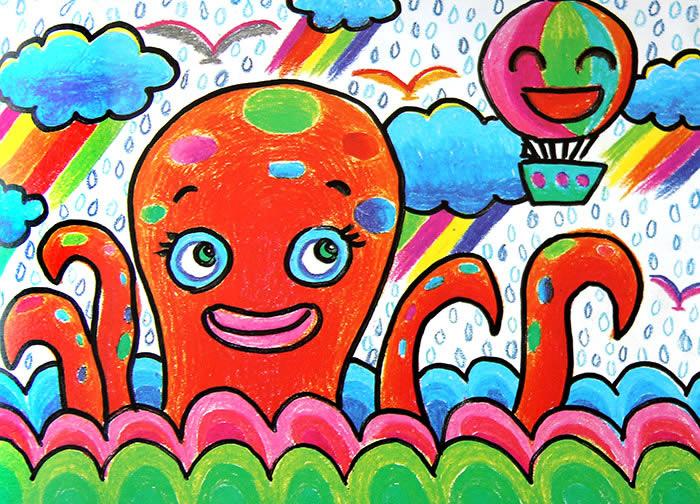儿童画画 数字油画 海底小章鱼儿童画画