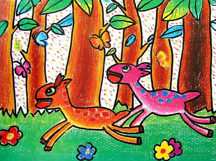 儿童画画 数字油画 奔跑的小鹿儿童画画