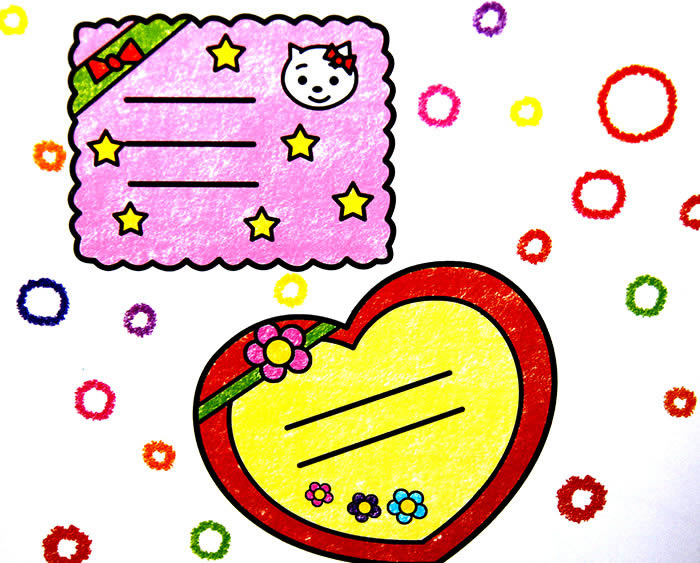 儿童画画 数字油画 粉色可爱的小卡片儿童画画