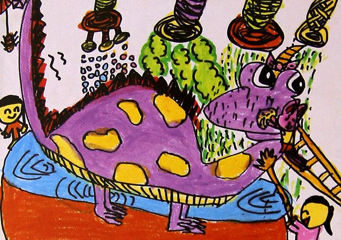 给恐龙洗澡简笔画 给恐龙洗澡图片欣赏 给恐龙洗澡儿童画画作品