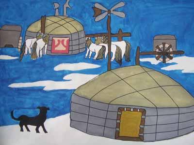 帐篷简笔画_帐篷图片欣赏_帐篷儿童画画作品-有伴网