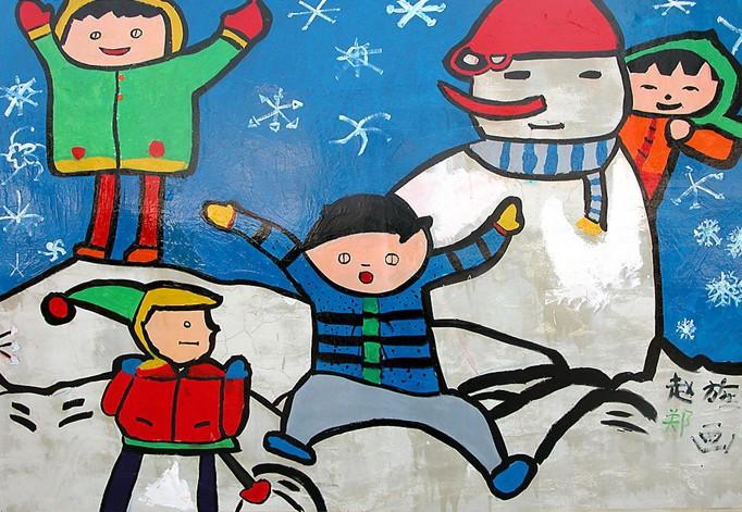 堆雪人简笔画_堆雪人图片欣赏_堆雪人儿童画画作品-有