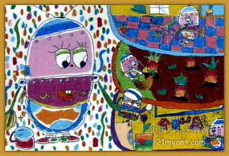 机器人做家务 简笔画 机器人做家务 图片欣赏 机器人做家务 儿童画画作品