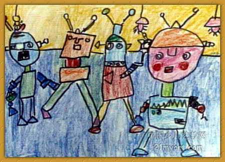 儿童画画 数字油画 《机器人》儿童画画
