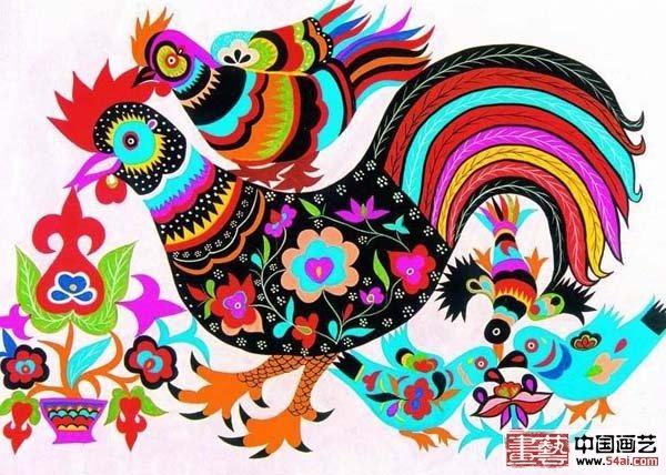 公鸡装饰画简笔画 公鸡装饰画图片欣赏 公鸡装
