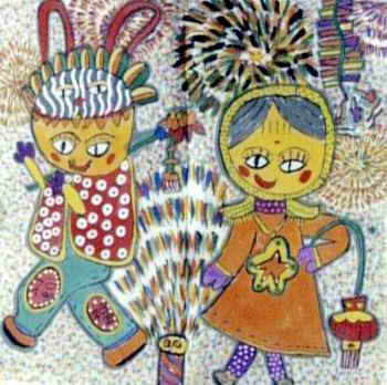 火火的年简笔画 火火的年图片欣赏 火火的年儿童画画作品