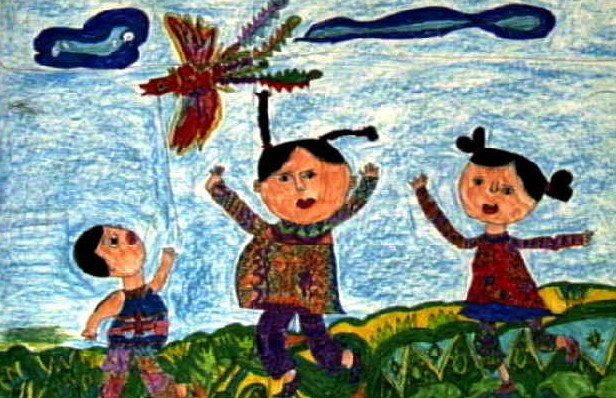 放风筝简笔画 放风筝图片欣赏 放风筝儿童画画