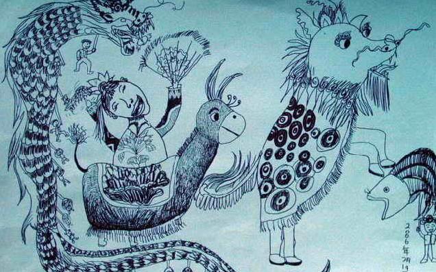 儿童画画 装饰画 欢腾元宵节儿童画画