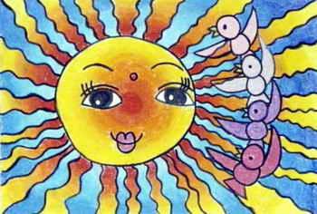 儿童画画 装饰画 给太阳梳头的小鸟儿童画画