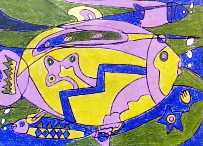 鱼儿童画画作品-有伴网