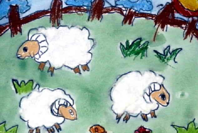 小绵羊简笔画_小绵羊图片欣赏_小绵羊儿童画画作品-有