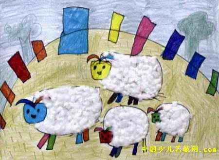 《可爱的绵羊》简笔画